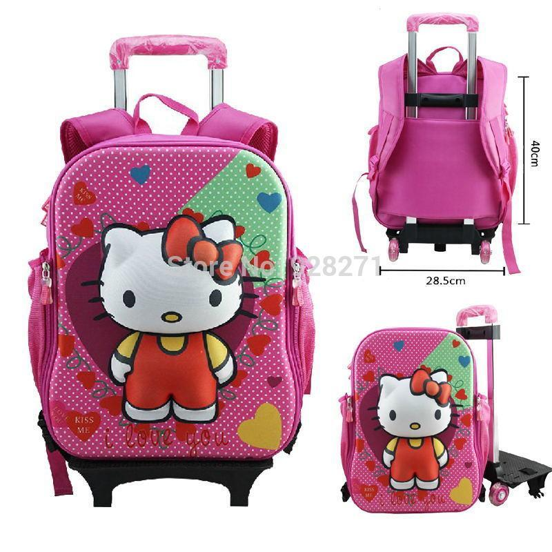 Buy 3D Hello Kitty Trolley School Backpacks for Girls Boys Mochila  Spiderman Cars Cartoon Wheeled Backpack Children Rolling Bookbags in Cheap  Price on ... 77bbd33adf00c