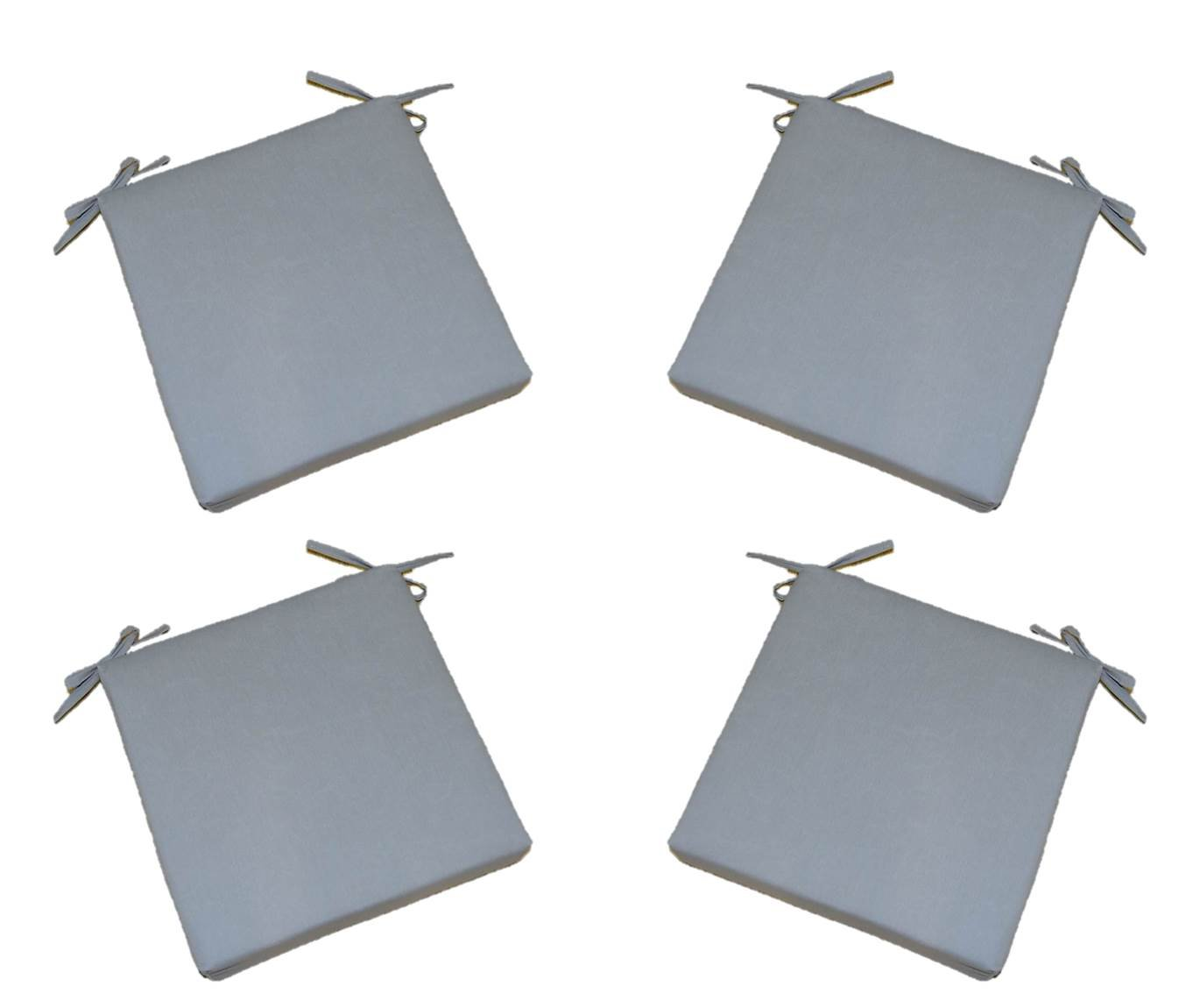"""Set of 4 - Indoor / Outdoor Solid Gray / Grey 17"""" X 17"""" Square Universal 3"""" Thick Foam Seat Cushions with Ties for Dining Patio Chairs"""