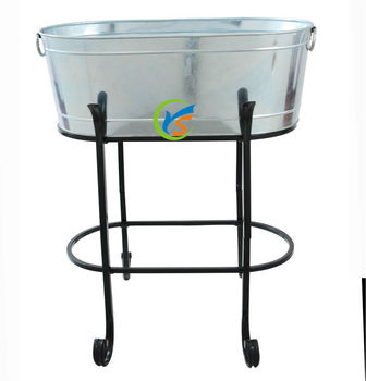 Galvanized large metal beverage tubs with stand buy for Large metal tub for gardening