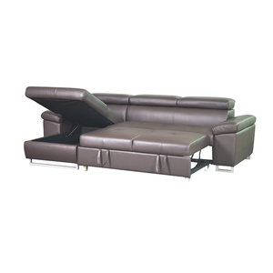 High quality leather l shaped sofa bed with storage