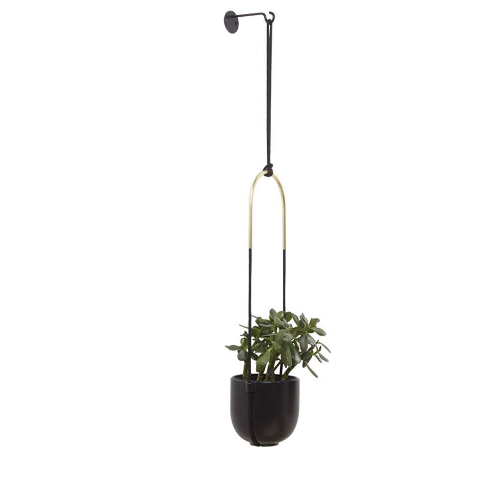 Wall Planters Flower Stand Metal Flower Stand Ceramic Plant Potted Plant Wall Hanging Flower Pot (Color : Black, Size : 161962cm)