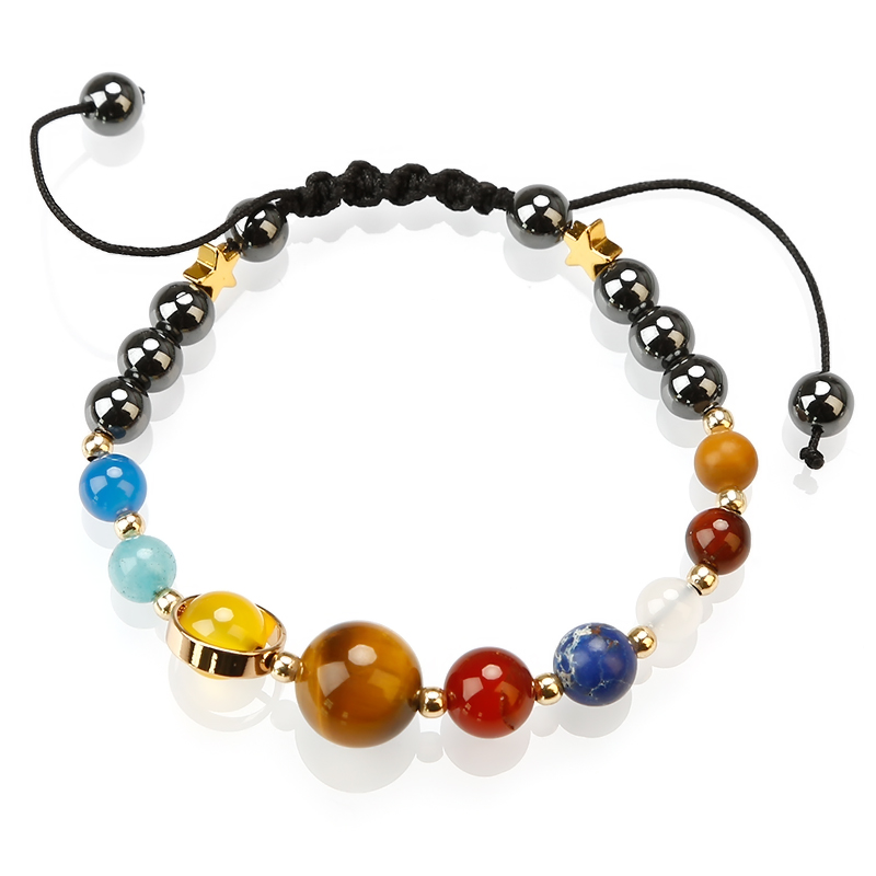Rope Braided String Planet Stone Bead Bracelet Weaving Solar System Bracelet