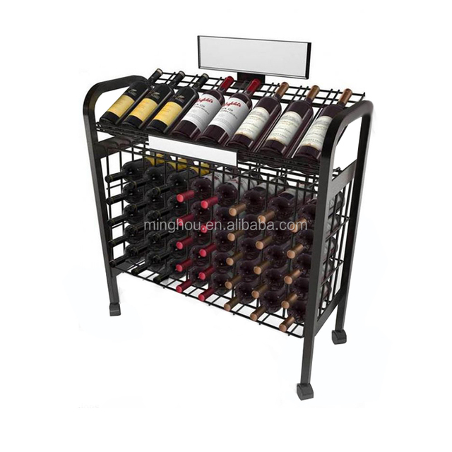 48 bottles floor standing metal wine shelf