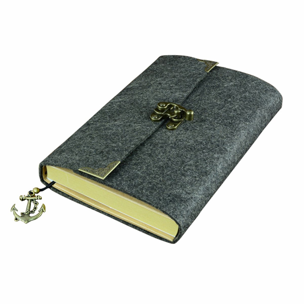 SAYEEC Retro Slim Felt Cover Hardcover Notebook With Bronze Lock - Lined Diary Travel Writing Journal Drawing Sketchbook Gray