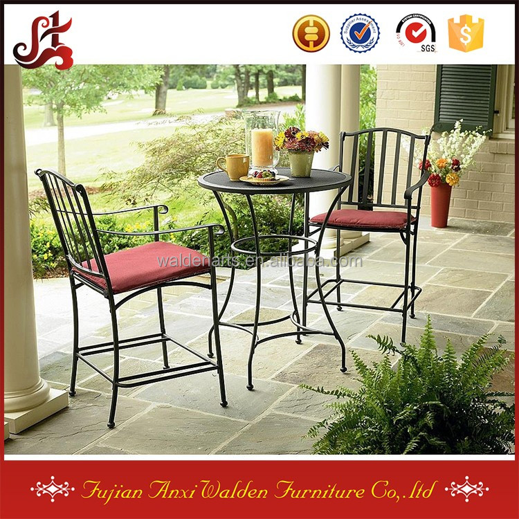 Terras meubilair smeedijzeren 3 stuk bistro set tafel met twee stoelen tuin sets product id - Leuningen smeedijzeren patio ...