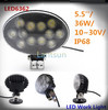 Oval off road utv driving light 12v car accessories flood led work light