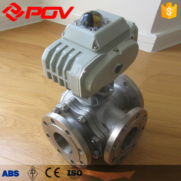Flange connect three way motorized ball valve