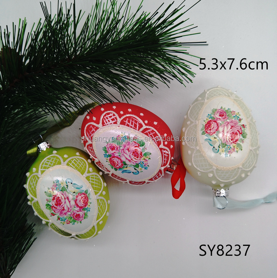 Factory wholesale Easter decoration hand blown glass inflatable easter egg