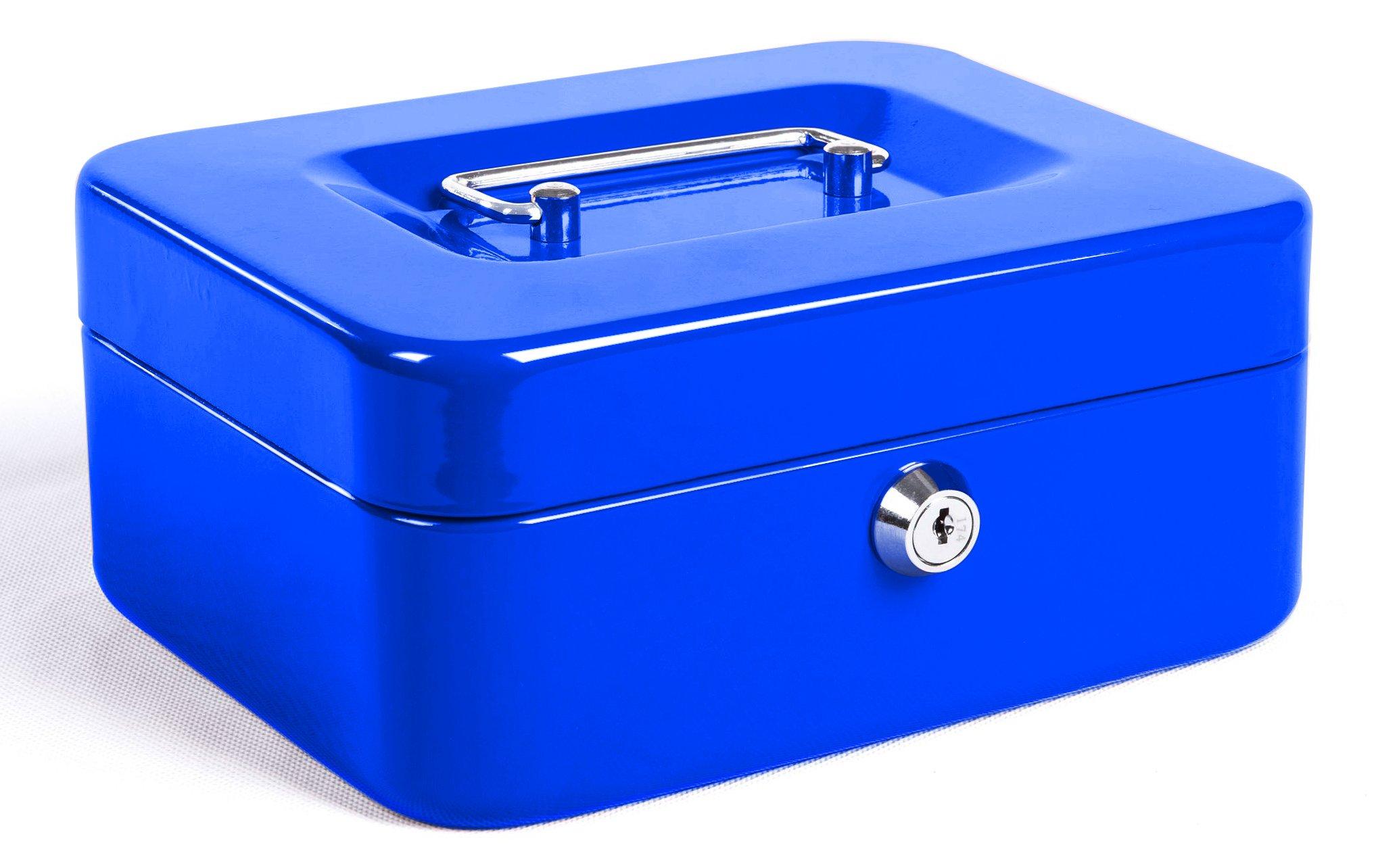 323fab27ae65 Jssmst Locking Small Steel Cash Box with Money Tray,Lock Box,Blue