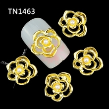 Blueness 10Pcs Gold Alloy 3D Flowers Fingernail Strass Manicure Tips Glitter Pearl For Charms Nail Art