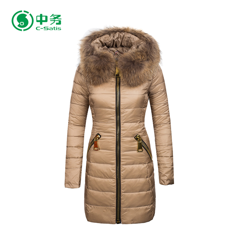 Top Quality Winter Windproof Warm Women Duck Down Coat with Fur Collar