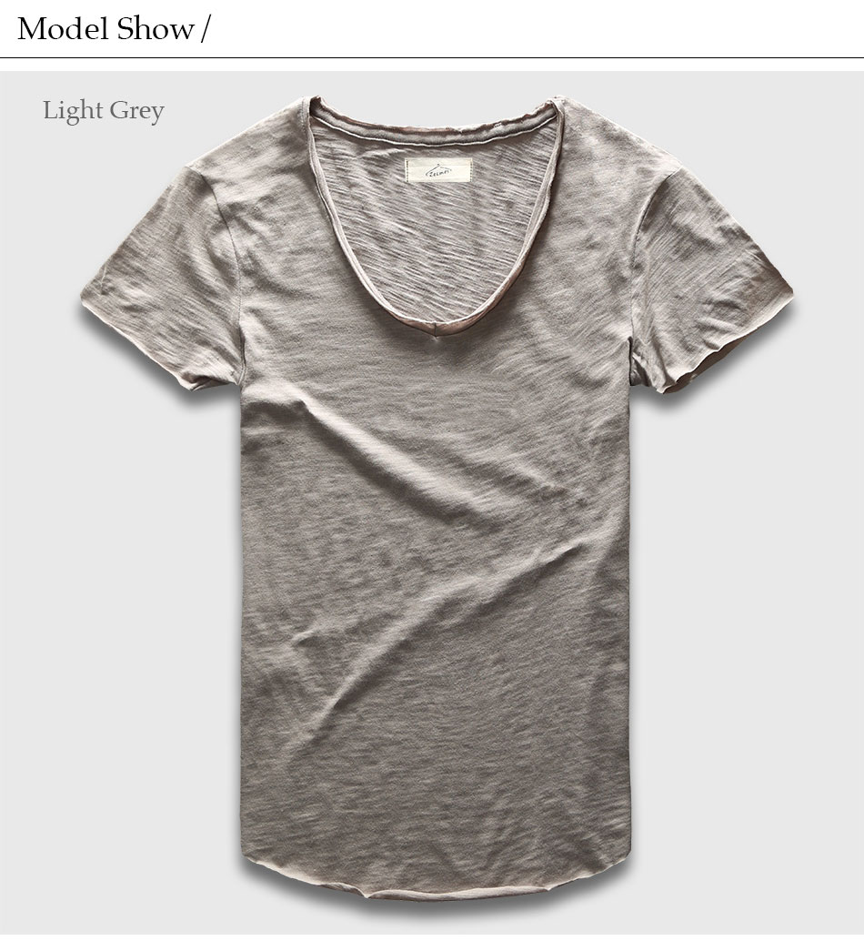 cd170a659 Wholesale- Plain Basic Top Tees Men Casual Deep V Scoop Neck T-Shirt Male  Slim Fit T Shirt Luxury Curved Hem Navy Tee Muscle