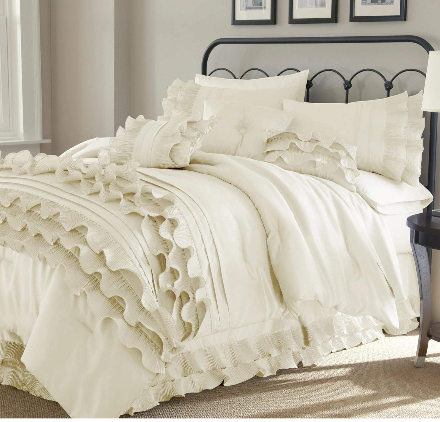 Buy 8pc Pearl White Ruffled Stripes Pattern Comforter King Set Shabby Chic Ruffles Lines Design Luxury Modern Bedrooms Neutral Solid Color Unisex Classic French Country In Cheap Price On Alibaba Com