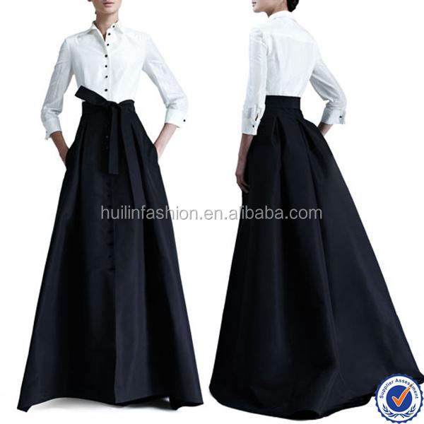 Elegant Long Skirts For Women Black Maxi Long Taffeta Bridesmaid ...