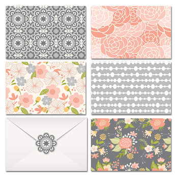 Window Envelope Packaging - Blank on the Inside - Colorful Flower Designs with Gold Foil Print - Includes Greeting Card