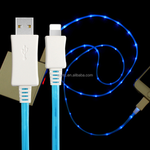 Cheap visible flow EL led light flowing ios usb charging data sync cable for iPhone 8 smartphone charger cord