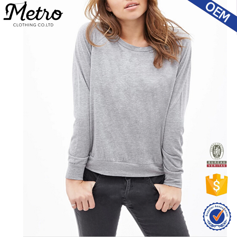 Manufacture Rinbbed Trim Women Autumn 2015 Heathered Knit Pullover