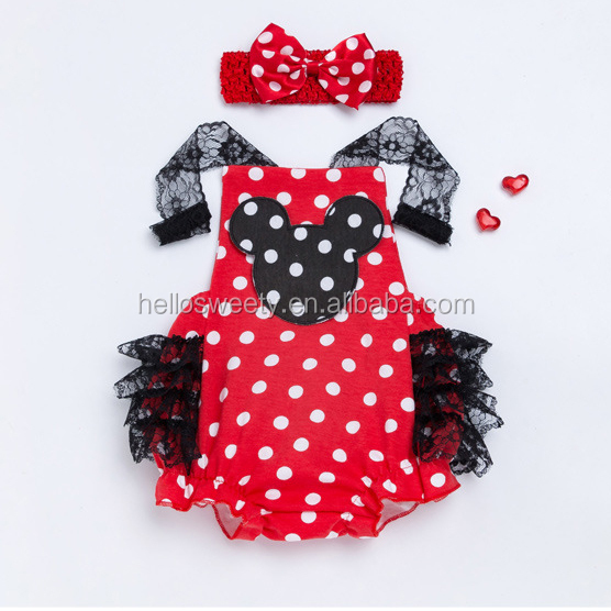 2018 Wholesale baby girls character red polka dots fashion cheap infant clothing sets ruffle bubbles rompers