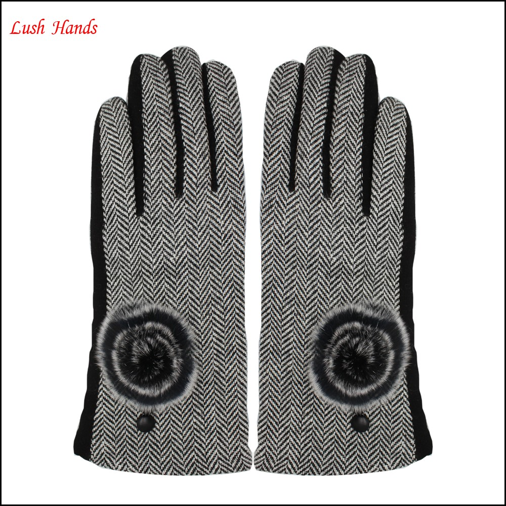 2016 ladies fingered touch-screen spandex velvet gloves for wholesale