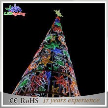 RGB giant unique artificial christmas motif tree light with star and giftbox motif lights for plaza decoration