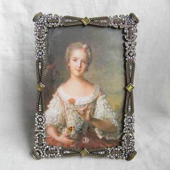 4''x6'' antique rectangle metal photo picture frame(P0143246a)
