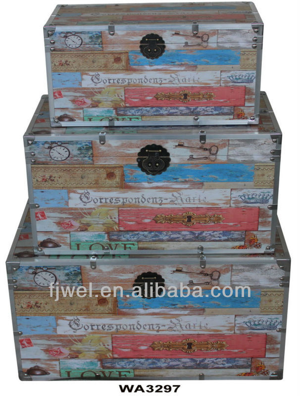 Metal Trim Decorative Storage Trunks