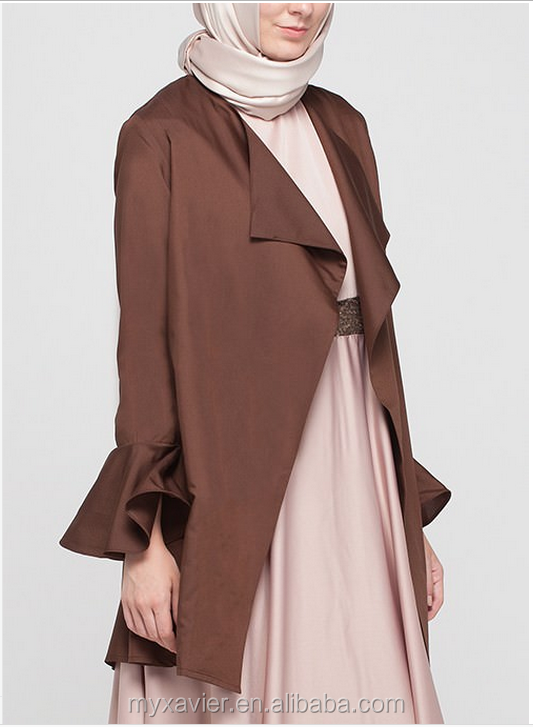 Muslim outerwear flap neckline open front long sleeves with flared cuffs simple pieces cover abaya coat