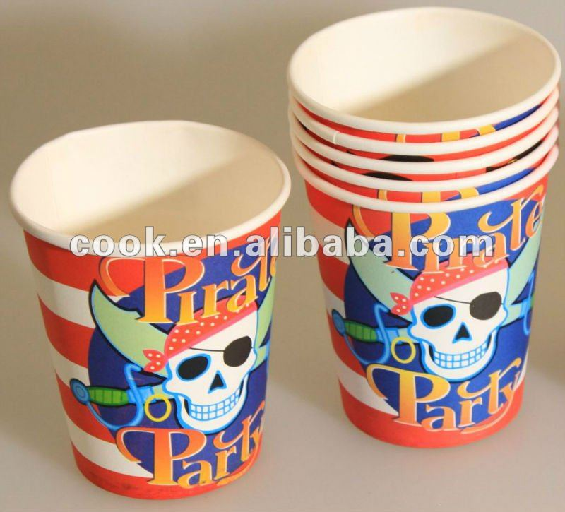 Pirate Party paper cups for kids birthday