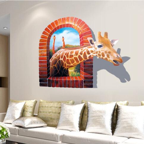 tier giraffe 3d fenster vinyl wandaufkleber l sbaren tapeten baby kinderzimmer aufkleber poster. Black Bedroom Furniture Sets. Home Design Ideas