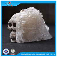 HJT natural quartz crystal cluster skull polished for crafts collection