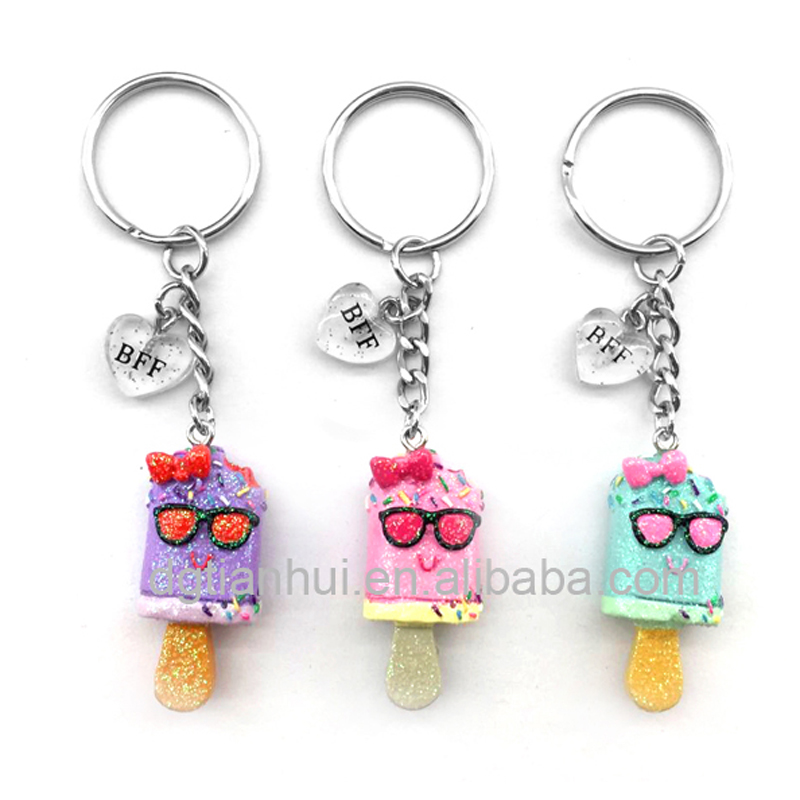 High quality cute custom glitter ice cream resin keychains