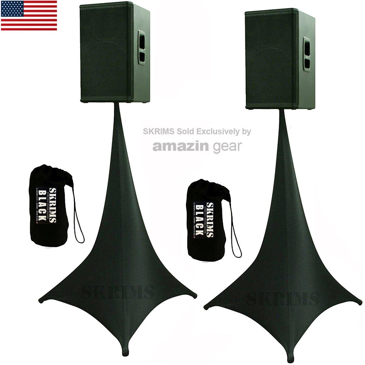 2-Pack Amazin Gear SKRIMS Tripod Speaker Stand Stretch Covers - Triple Sided DJ Scrims - Spandex DJ Skirts 3-Sides - Scrims 360 +2 FREE Travel Bags - BLACK PAIR (SKRIMS-3B-2)