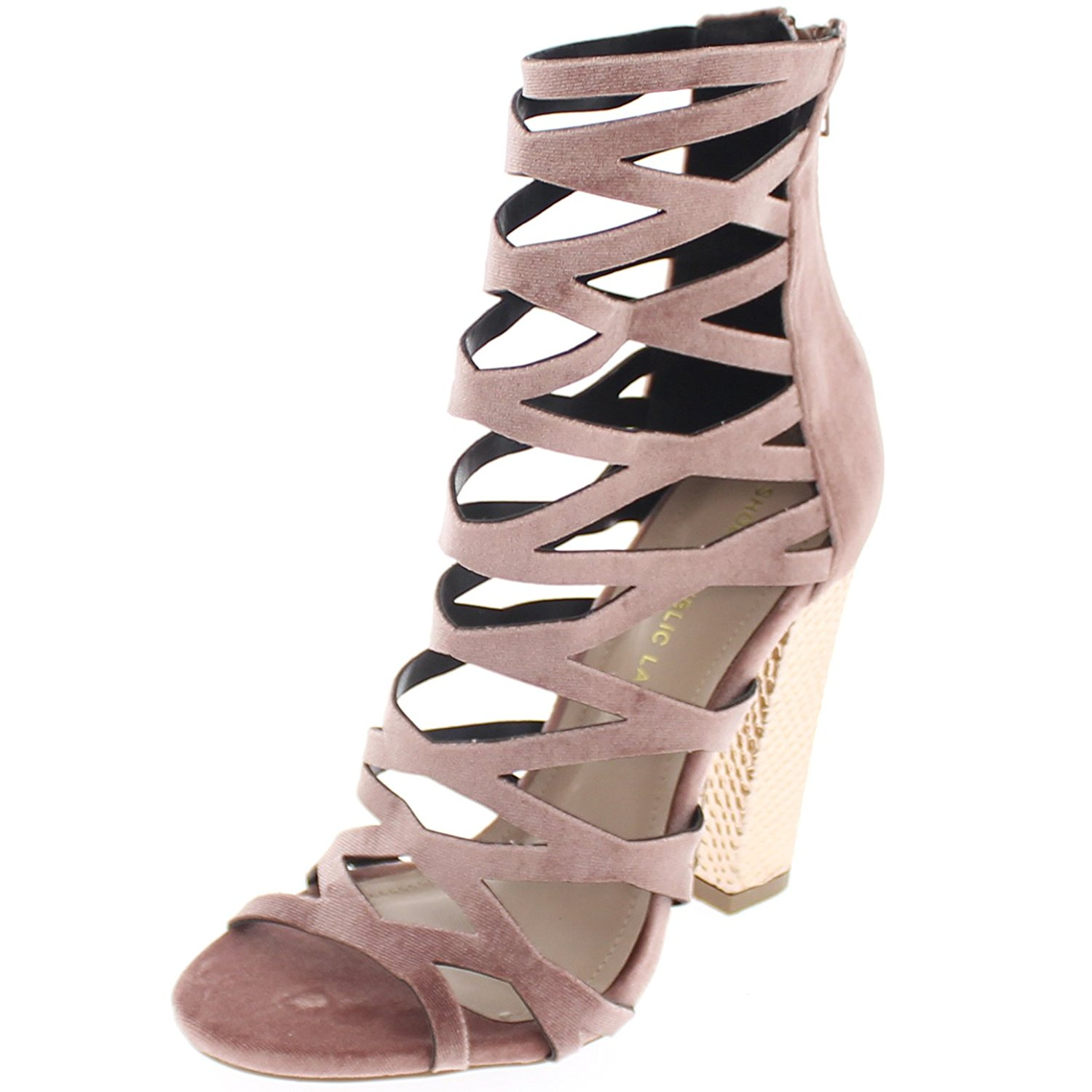 3ae9a4aa313 Get Quotations · Shoe Republic Gladiator Open Toe Ankle High Sandal Shimmy