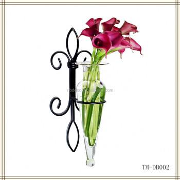 Wrought Iron Wall Flower Vase Holder