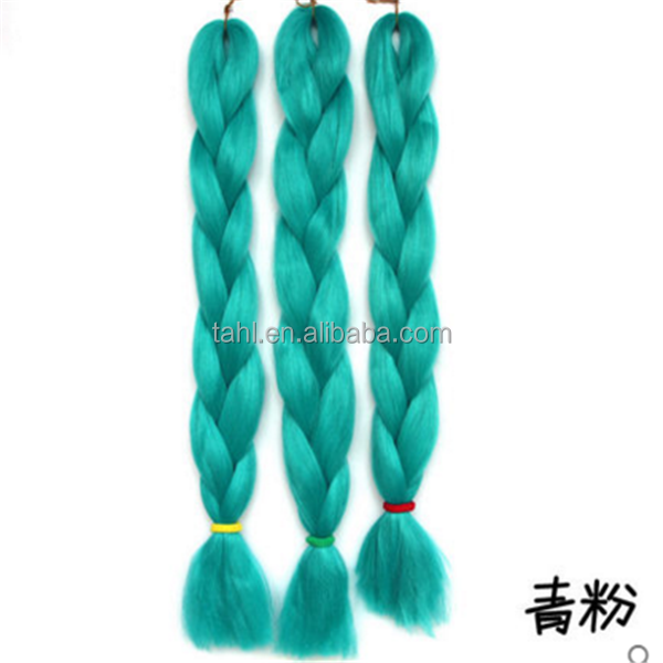 Fuschia green colorful single color brading jumbo braid to make crochet hair extension