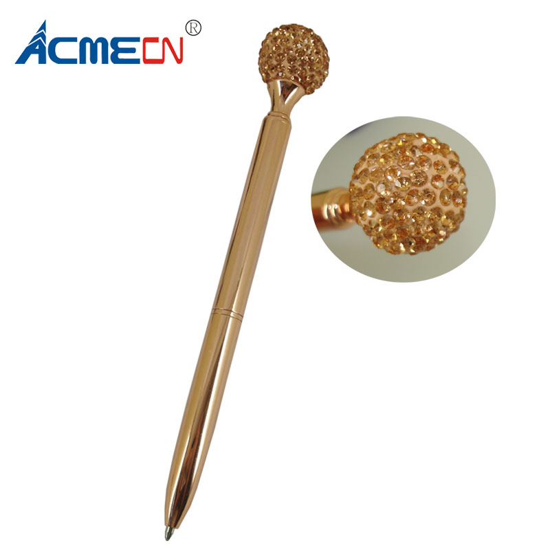 ACMECN Rose Gold Big Diamond Ball <strong>Pen</strong> Twist Slim 1.0mm Writing Point Cute Crystal Ball <strong>Pen</strong> for Promotion Gifts Logo <strong>Pens</strong>