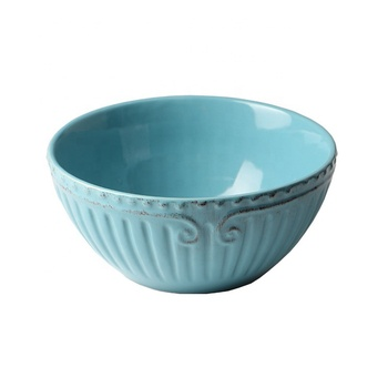 Food safe blue color floral relief decor hotel serving bowls custom made porcelain bowl