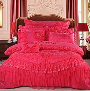 LELVA Luxury Lace Princess Bedding Rose Red Wedding Bedding Princess Bedding Korean Designer, Girl Red Ruffle Bedding Set 4pcs / 6pcs / 8pcs / 10pcs Queen / King Size (4(10pcs), Queen)