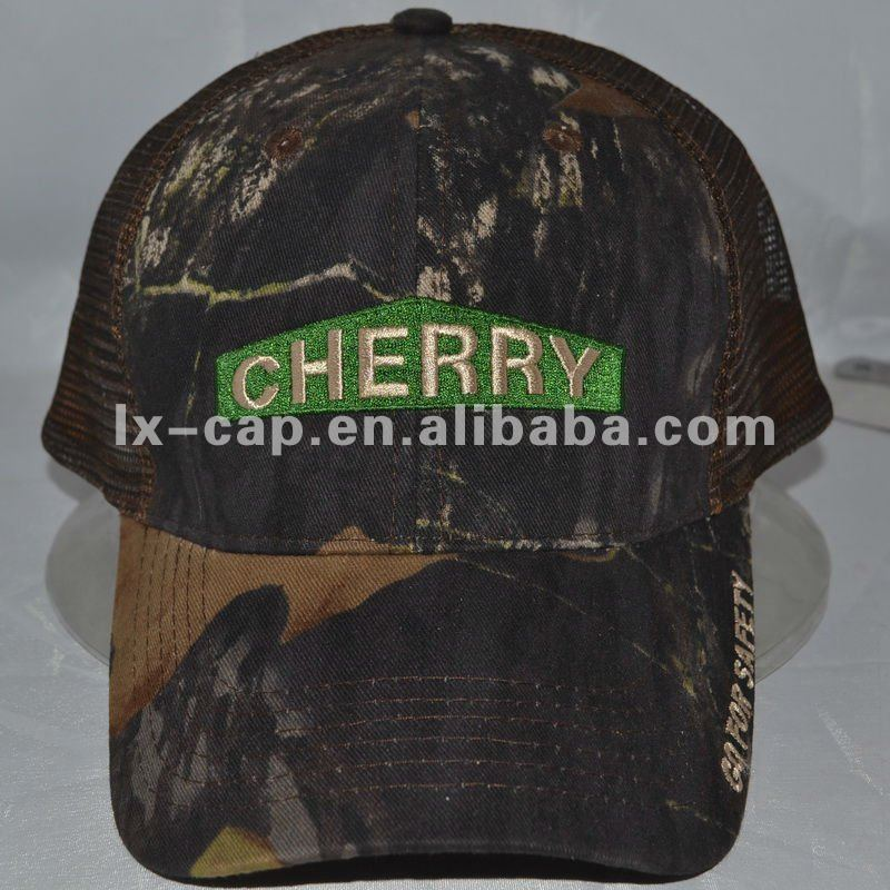 camo emboridery logo trucker mesh cap and hat