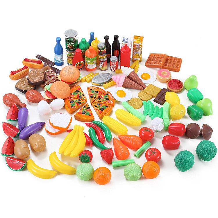 Hot UK Grosir Anak-anak Prasekolah 120 Pcs Play Food Set Plastik Realistis Mainan Dapur