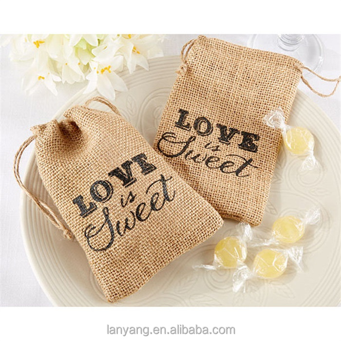"9.5x14.5cm ""Love is Sweet"" Vintage Natural Burlap Hessian <strong>Wedding</strong> Favors Drawstring Bags"