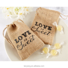 "9.5x14.5cm ""Love is Sweet"" Vintage Natural Burlap Hessian Wedding Favors Drawstring Bags"