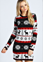 Snowflake Crew Neck Christmas Knit Dresses New Fashion 2015