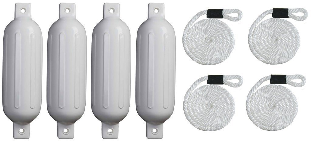 Mad Dog 6.5 Inch by 23 Inch Ribbed White Boat Fenders Four Pack with Four White Fender Lines