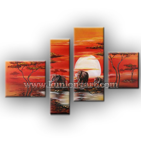 Free Shipping Unframed Hand-painted Modern Oil Painting, Landscape Canvas Art, Animal Oil Paintings for Home Decoration