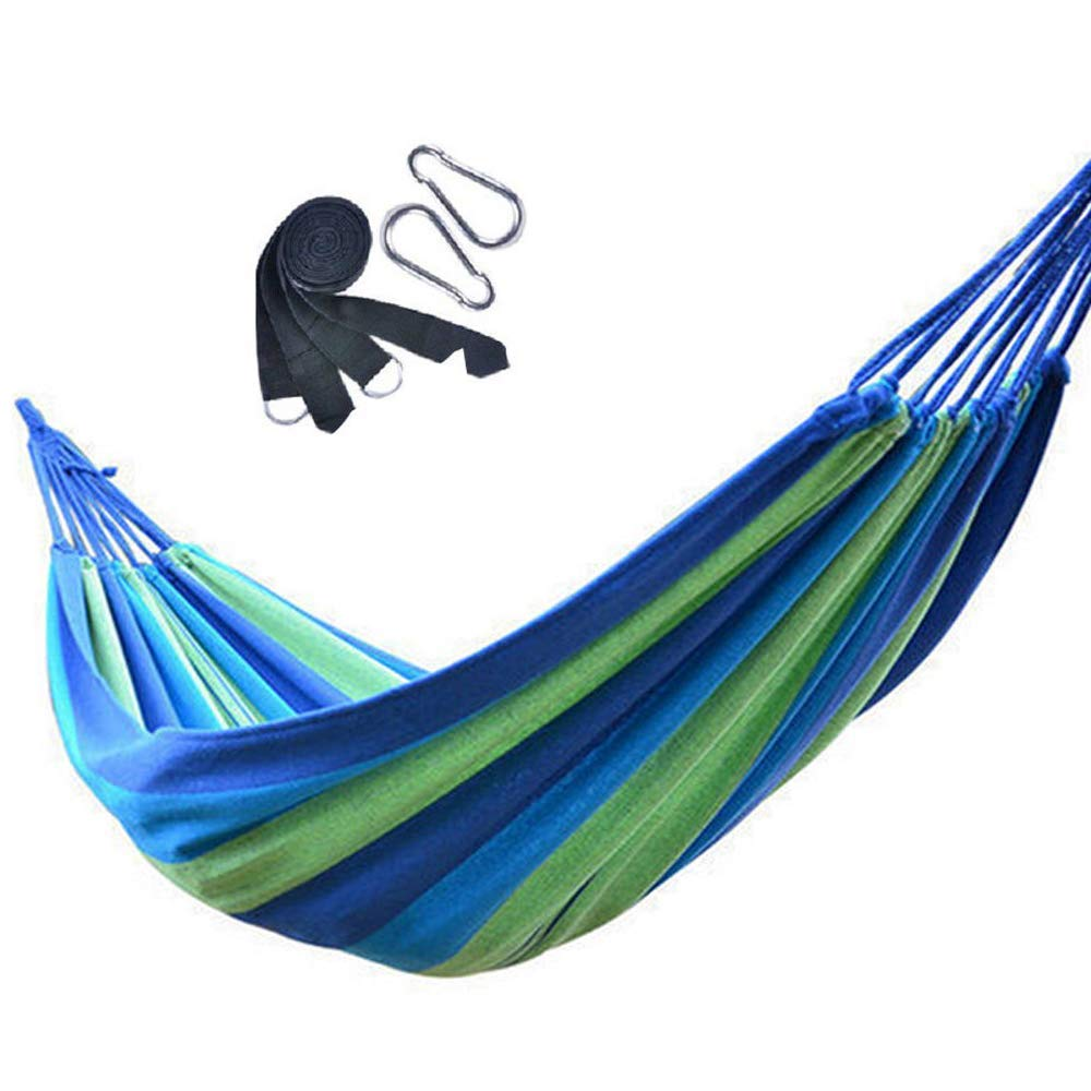 V-Top-Shop Double Rope Hanging Hammock Camping Swing Canvas Bed with Carabiner Straps for 2 Persons - Blue - 200 x 150 cm