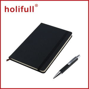 2016 new promotion plain color pu leather commercial notebook and pen set