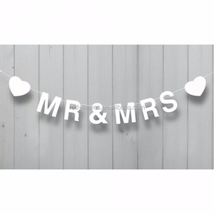 Mr & Mrs Bunting Banner Garland Wedding Party Decoration, 5M White Vintage Style