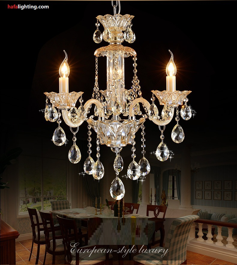 Small bedroom crystal chandelier lighting fixture living room