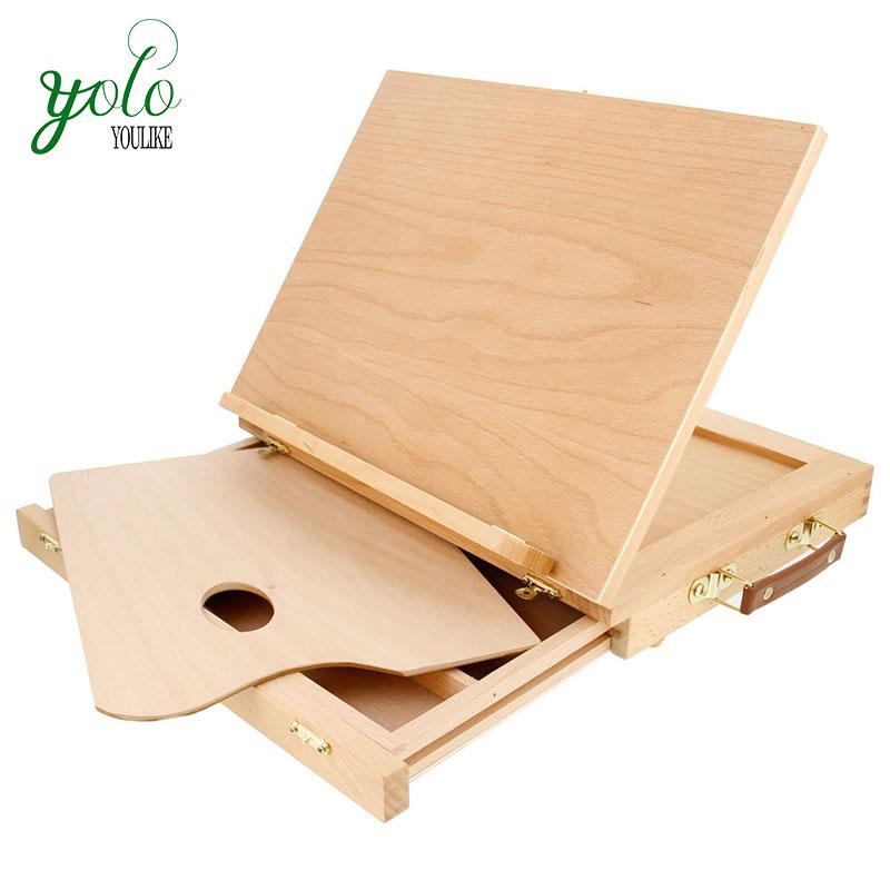 Твердый Solana регулируемый деревянный Рабочий стол настольный мольберт с выдвижным ящиком